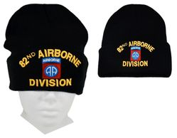 Wholesale Beanies Military Men's Supplier Hats - Army 82nd-AIRBORNE(DIVISION)(BLACK)