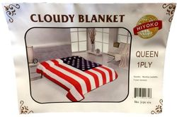 Wholesale Blankets Bulk Print - JCPC679. Wholesale One Ply American Flag Queen size Blanket