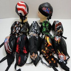 Men's Motorcycle Skull Caps - MSC Distributors - BN207. Assorted Leather-Like Skull Caps