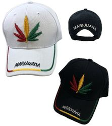 Wholesale Bulk Baseball Caps - HT2107. Red Yellow Green Leaf Ball Cap [MARIJUANA on Bill]