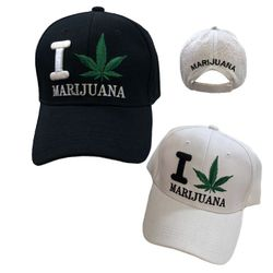 Wholesale Bulk Baseball Caps - HT2108. I [Leaf] Marijuana Ball Cap