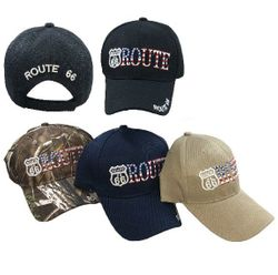 Wholesale Bulk Baseball Caps - HT2110. Route 66 Ball Cap [Flag Letters]