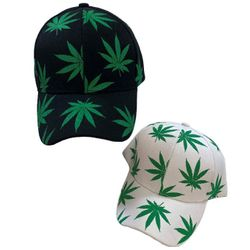 Wholesale Bulk Baseball Caps - HT3116. Screen Print Marijuana Ball Cap [Black White Mix]