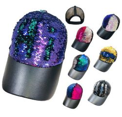 MSC Distributors : Wholesale Boutique Clothing Suppliers USA Party Hats - HT449. Reversible Sequin Mesh Baseball Hat [Leathery Bill]
