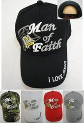 Christian Hats Wholesale Merchandise - RELIGIOUS BALL CAP NEW MAN OF FAITH BLACK COLOR HAT CHRISTIAN - HT649