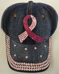 Breast Cancer Clothing, HT1072. Denim Hat with Bling Pink Ribbon