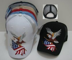 USA Suppliers Wholesale Patriotic American Flag Bald Eagle Baseball Hats - HT248. Eagle with Flag-Mesh Back Ball Cap