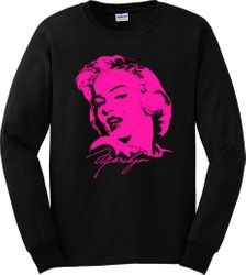 T Shirts Gildan Bulk Wholesale Clothing Suppliers In USA - LONG SLEEVE T-SHIRT MARILYN MONROE NEON PINK