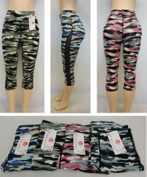 Wholesale Clothing for Women's Cheap Fashion Leggings - SC0811. Ladies Active Fitness Capris [Camo with Mesh Sides]