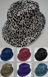 MSC Distributors : Wholesale Boutique Clothing Suppliers USA Party Hats - HT315. Fedora Hat--Sequins with Animal Print