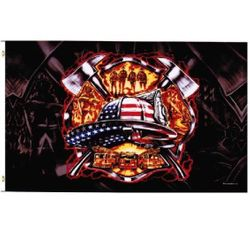 Firefighter T Shirts Wholesale Flag Suppliers - FLAG025. 3x5 American Patriotic Firefighter Flag