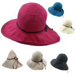 Blank Wholesale Hat and Cap Suppliers - HT892. Ladies Fashion Hat [Solid Swirl with Wooden Ring Medallion]