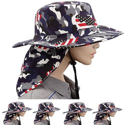 Wholesale Hats Bulk USA Men's Suppliers - Camouflage American Flag Neck Flap Boonie Hat (060)