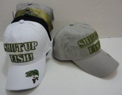 MSC Distributors : Funny Fishing Men's Hats Wholesale Bulk Supplier - HT459. SHUT UP & FISH Hat [Shadow Fish