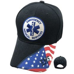 Wholesale Hats Caps Embroidered Supplier Bulk - HT2116. EMS Ball Cap [Seal] Flag on Bill