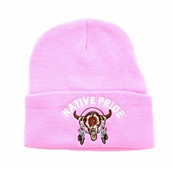 Wholesale Hats Caps Supplier Bulk - WB040-37 Native Pride Cow Skull Long Beanie (Solid Light Pink)