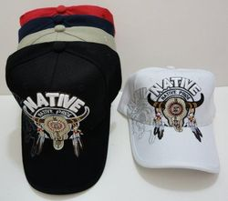 Skull Hats Wholesale HT420. Native Pride-Bull Skull with Shadow
