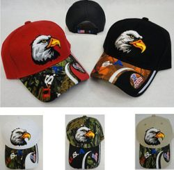 USA Suppliers Wholesale Patriotic American Flag Bald Eagle Baseball Hats - HT175. Eagle Head Hat [Red White Blue USA & Flag on Bill]