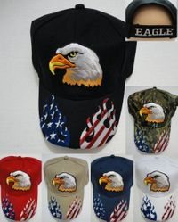 USA Suppliers Wholesale Patriotic American Flag Bald Eagle Baseball Hats - HT758. Eagle Hat with Flag Flames