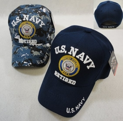 Hats Caps Wholesale Bulk Supplier - Military Patriotic Veteran - HT41082. Licensed US Navy RETIRED Ball Cap Assorted Colors