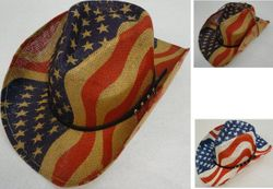 Wholesale - HT1534. Flag Cowboy Hat [Hatband with Studs]