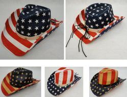 Wholesale - HT1535. Americana Cowboy Hat [Stars and Stripes] Hatband with Stars