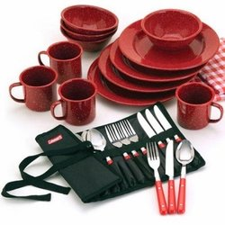 Wholesale Hunting Gear Gifts Camping Fishing Sporting Goods Bulk Supplier - Coleman 25-piece Enamelware Dining Set with Stainless Steel Flatware