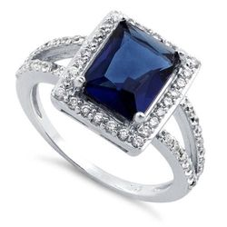 Wholesale Silver Jewelry - sterling-silver-blue-sapphire-rectangular-halo-cz-ring-11 - MSC Distributors