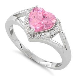 Wholesale Jewelry for Sale - Wholesale Sterling Silver Jewelry Online - sterling-silver-heart-shape-pink-cz-ring-30