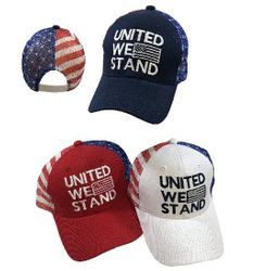 Military T Shirts Hats Wholesale Bulk Supplier - united we stand caps - HT2114. UNITED WE STAND Ball Cap [Flag Mesh Back]