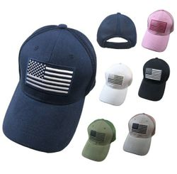 Wholesale Men's Apparel Baseball Caps Suppliers Bulk - HT476. Solid Color Hat-Soft Jersey Mesh Back with Embroidered Flag