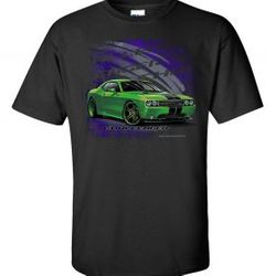Wholesale Men's Women's American Muscle Car T Shirts Bulk Suppliers - TDC-224-Green-2011-Challenger-SRT
