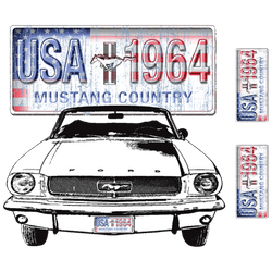 Wholesale Men's Women's Ford Mustang USA 1964 Car T Shirts Bulk Suppliers - 11000D2