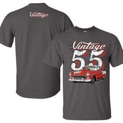 Wholesale Men's Women's Vintage American Muscle Car T Shirts Bulk Suppliers - 55-chevy-mock-up