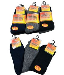 Military World Clothing Distributors - Bulk Socks Wholesale Socks Merchandise Distributors Bulk - SC4725. 3pr Thermal Crew Socks 10-13 [BLK GRY NVY] Brushed Interior