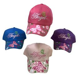 Party Toys Wholesale Headwear Hats Merchandise Suppliers - HT5111. Girl's Embroidered Ball Cap [Angel] Printed Bill