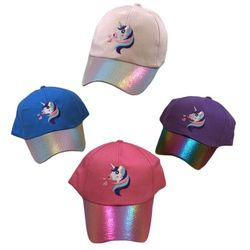 Party Toys Wholesale Hats lids Merchandise Suppliers - HT5112. Girl's Embroidered Ball Cap [Unicorn] Metallic Bill