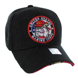 Best Selling Marine Corps Wholesale Military Hats and Caps Bulk Suppliers - HT9145-1. Licensed US Marine Corps Seal Hat [Bulldog Shadow] Black