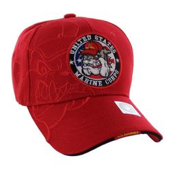 Best Selling USA Wholesale US Marine Corps Hats for Men - HT9145-2. Licensed US Marine Corps Seal Hat [Bulldog Shadow] Red