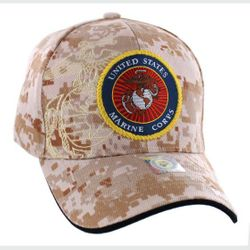 Best Selling USA Wholesale Marines Caps - Military Baseball Hats in Bulk - HT9145-6. Licensed Camo US Marine Corps Seal Hat [Globe Anchor Shadow]