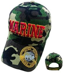 Wholesale Military Apparel Hats For Men Bulk Suppliers - HTM17. Licensed MARINE Hat [Seal on Bill] Camo