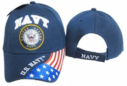 Military Hats Caps Wholesale Licensed Supplier Bulk Massachusetts - CAP602G Navy Emblem Flag Cap