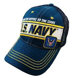 Wholesale Military Patriotic Veteran Hats Caps Bulk Suppliers - HT4012. Licensed US Navy Mesh Hat [From the Depths to the Stars]