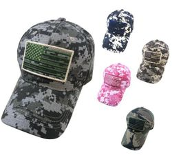 Wholesale Military Patriotic Veteran Hats Caps Bulk Suppliers - HT478. 100% Cotton Ripstop Camo Hat with Embroidered Flag