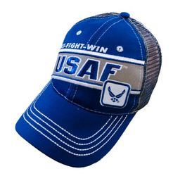Wholesale Military Patriotic Veteran Hats Caps Bulk Suppliers - HT5012. Licensed USAF Mesh Hat [Fly Fight Win]