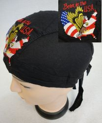Wholesale patriotic skull cap suppliers - BN601. Embroidered Skull Cap [Born in the USA]