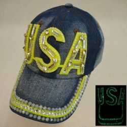 USA Suppliers Wholesale Patriotic American Flag Bald Eagle Baseball Hats - HT1035. Denim Hat with Bling Gold [USA]