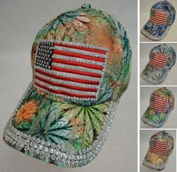 USA Suppliers Wholesale Patriotic American Flag Bald Eagle Baseball Hats - HT1088. Lace Floral Hat with Bling [Flag]