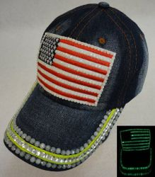 USA Suppliers Wholesale Patriotic American Flag Bald Eagle Baseball Hats - HT1095. Denim Hat with Bling Glow in the Dark [Flag]