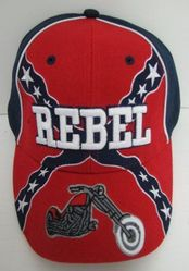 Wholesale Patriotic American Flag Bald Eagle Baseball Hats - HT178. Rebel Flag Hat with Motorcycle
